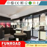 glass display showcase plywood baking paint glass Jewelry free display stand with LED light