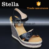 2016 spring summer hot sell pu hemp rope wedge heel sandal