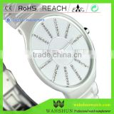 Fashion gift black white ceramic watch band man quartz waterproof,diamond ceramic wrist watch