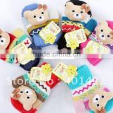 warm Knitted bear cartoon winter children's gloves colorful JPgloves031