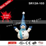 Lighted LED outdoor tinsel christmas snowman decoration with blue hat