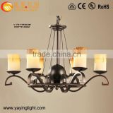 American country style wrought iron candle chandelier church lighting