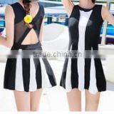 2016 Tall waist sexy swimsuit conjoined black and white stripes