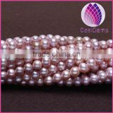 High quality AA1 Grade natural 7.0-8.0mm white/mauve round freshwater pearl
