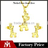 2016 New Design Jewelry Set Stainless Steel Horse Necklace Women Gold Plated Stud Earrings