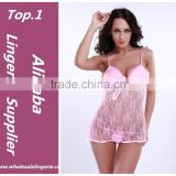 Pink lace see through beautiful girl sexy babydoll hot bed night dress