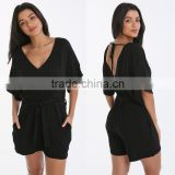Made In China Deep V Neck Sexy Girls Wearing Jumpsuit Black Beach Wear Short Casual Summer Playsuit For Women