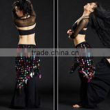 Tribal triangle crochet sequin hip shawl triangle belly dance hip scarf
