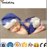 Tinaluling Baby Newborn Photography Props Crochet Baby Beanie Hat with Suspender Pant Knitted Costume Outfit