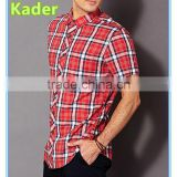 Short sleeve latest shirt red plaid designs for men Image