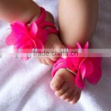 New Arrival Elastic Barefoot Sandals For Infant Hot pink Barefoot Socks Sandals Shoes Flowers Feet Toes Baby Bloom