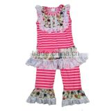 baby clothes 2017 sleeveless white lace top match pants stripe outfits kids trendy clothing bulk wholesale kids clothing