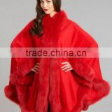 2017 New Product Noble Cape Brand Name shawl Hand Made Wholesale Cashmere And Fox Fur Trim Cape