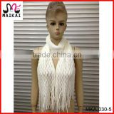 Winter hot fashion white acrylic double knitting pattern scarf and snood