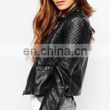 Girls' Faux Leather zip closure Long sleeve Bolero Imitation Leather Jacket bomerJacket Blazer cycle jacket quilted Jacket