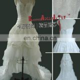 EB711 Upsets taffeta lace beaded ruffle knee-length with train dance wedding dress bridal dress