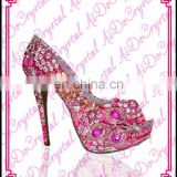 Aidocrystal red classic flower decorative peep toe rhinestone stiletto girls high heels sandals