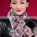 Real fabric rex rabbit ladies fashion fur scarf wholesale