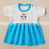 White & Blue Cotton Frock For Kids