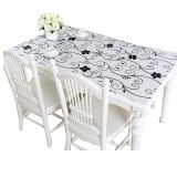 Factory supplying PVC Waterproof Transparent anti-oilproof Floral Rectangular buffet heat resistant table cloth