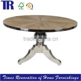 Recycle ELM Ray Jointing Dining Table,Stainless Steel Base Dining Table,Antique Solid Wood Dining Table