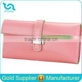 Stock Wholesale 7 Colors High Quality Pure Solid Color Pantent PU Leather Hasp Women Lady Female Belt Clip Wallet