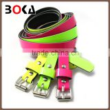 // wholesale factory bright colorful pu leather belt // new design shiny pvc leather belt //