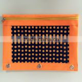 Osini custom colorful non-woven fabrics 3-Ring binder with mesh window cosmetic / pencil / zipper bag for girls & office
