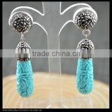 LFD-034E Wholesale Blue Shell Carved Engraved Pave Rhinestone Crystal Drop Earrings Fashion Jewelry