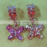 Vnistar silver plated european dangle charm hanging beads pink&purple butterfly shaped for charm jewelry PBD1988