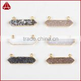 Fashionable Jewelry Electroplated Gold Druzy Bar Agate Connector for Bracelet with 2 Loops