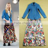 2015 New Arrival Brand Celebrity Casual Style Long Sleeves Denim Top + Floral Long Skirt Fashion Women 2 Piece Dress