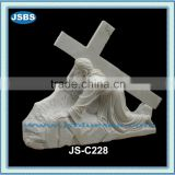 cheap decorative white marble cross jesus statue
