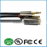 "3.5mm 1/8"" M-M stereo AUX speaker audio 99.99% OFC cable 20"" / 50cm"