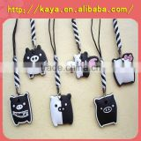 Various style black cat rubber phone strap for promotion gift