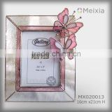MX020013 tiffany style stained glass butterfly photo frame for wholesale home decoration piece