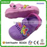 2016 New arrival cute cartoon comfortable kids durable EVA garden shoes clog with butterfly