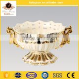 "2016 popular home decorate luxury art and crafts ivory 16""ceramic porcelain bowl vase with gold"