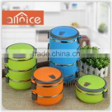 Allnice-Stainless Steel Food Storage Container - 3 Stackable Round Bowls, Airtight Lid, Carry Handle, And Locking Clips - 3 Tier