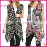Sleeveless Asymmetric Hem Open Front Floral Zig Zag Latest Fashion Ladies Wholesale Cardigan
