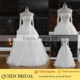 Real Sample Off-shoulder Long Sleeve Crystal Beaded Ruffled Skirt Latest Wedding Gown Designs