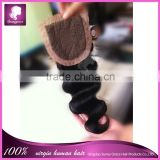 "Swiss lace top grade 4""x4"" natural color 100% malaysian virgin hair body wave silk base closures with baby hair 10-22"" in stock"