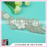HC-2097 Top Sale Flower Shape Crystal Bead Applique for Wedding Dress ,Wholesale Crystal Hot Fix Rhinestone
