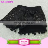 2016 Summer wear baby kids black sequin shorts fashion boutique girls pom pom shorts                                                                         Quality Choice