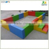 FS-SP-039F customized eco-friendly PVC & EPE & Wood kids rectangular plastic pool with ladder and colorful sea-balls