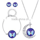 Earring and Bracelet Jewelry Set for Women Gift (Color: Silver) silver plated Color Butterfly Pattern Glass Cabochon Necklace
