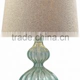 11.1-11 a round metal base Ridged glass Pale Green Smoked Glass Table Lamp a vintage feel