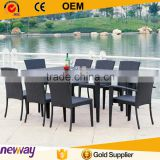 Best selling black color dining set outdoor furniture PE rattan table with chair