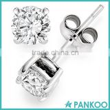 New Arrival!!! Wholesale 925 Sterling Silver Basket Setting Clear Round CZ Cubic Zirconia Diamond Stud Earrings for Women