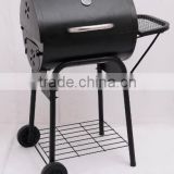 Black painting barrel charcoal bbq grill with side table